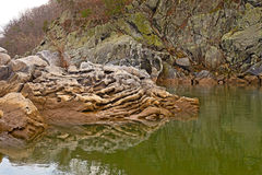 Whimsical rock formation in Potomac River at Great Falls Park in Maryland, USA. Stock Image