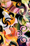 Whimsical scroll. Marbleized, whimsical scroll patterns with stone like engravings and colorful gradient overlay Royalty Free Stock Image