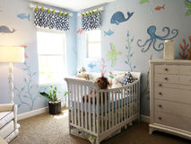Whimsical Sealife Baby's Room Stock Image