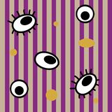 Whimsical seamless pattern. Striped with circles and eyes vector illustration