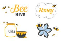 Whimsical Set of Bees and Honey. Bees illustration set with honey, jars, bees and flowers stock illustration
