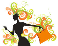 Whimsical shopping girl Stock Image