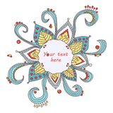 Whimsical snowflake-flower. Christmas sticker or frame vector illustration
