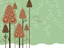 Whimsical Swirls Winter Trees Royalty Free Stock Photos