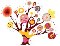 Whimsical Tree. Decorative tree with bright colors Royalty Free Stock Image