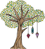 Whimsical Tree with Lanterns. A hand-drawn tree with vintage hanging lanterns Stock Images