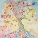 Whimsical tree of life with pastel colors.