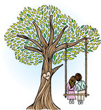 Whimsical Tree with Lovers stock illustration
