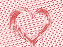 Whimsical valentine heart. Distorted pink and white heart on a heart background Stock Images