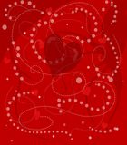 Whimsical valentine heart. Hearts beads and ribbon for Valentines day Stock Image