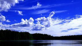 Whimsical white swan cloud. On a bright blue sky stock image