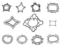 Whimsically inramar dragen organisk hand elva vektorer stock illustrationer