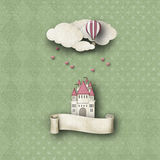 whimsy υπόβαθρο με το κάστρο και το μπαλόνι Στοκ Εικόνες