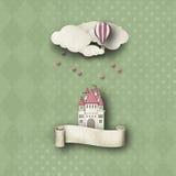whimsy bakgrund med slotten och ballongen Arkivfoto