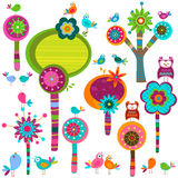 Whimsy flowers vector illustration