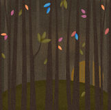 Whimsy Forest. Illustration a a whimsy forest with bright leaves royalty free illustration