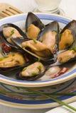 whine för tapas för musslasås spansk Royaltyfri Fotografi