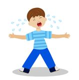 Whining boy on a white background Stock Image