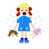 Whining girl with the broken doll in hands. Illustration a raster Royalty Free Stock Images