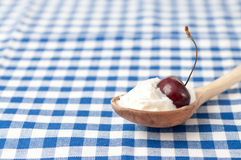 Whip cream and cherry fruit stock images