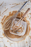 Whip and after preparation of sweet dishes Royalty Free Stock Images