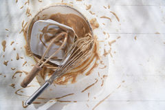 Whip and after preparation of sweet dishes Stock Photos