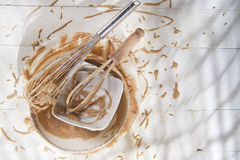 Whip and after preparation of sweet dishes Stock Images