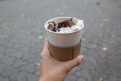 Whiped cream on coffe to go Royalty Free Stock Images
