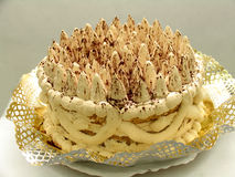 Whipped cream. A big cake with whipped cream Stock Image