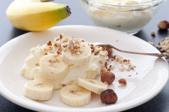 Whipped Cream Banana Hazelnuts Stock Photo