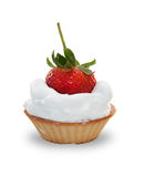 Whipped cream in basket with strawberries Royalty Free Stock Image