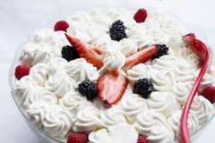 Whipped Cream with Berries Royalty Free Stock Photos