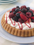 Whipped Cream and Berry Sponge Flan Royalty Free Stock Photography