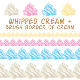 Whipped cream and border colorful brush. Vector Royalty Free Stock Images