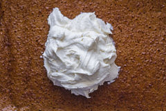 Whipped cream on a bubbly sponge pumpkin cake. royalty free stock photos