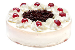 Whipped Cream Cake. Cake with cherries and whipped cream Stock Images