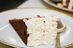 Cake. Whipped cream cake with chocolate Royalty Free Stock Photos