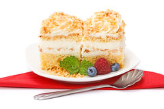 Whipped cream cake garnished with berries Stock Photography