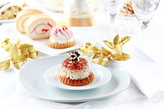 Whipped cream cakes for Christmas stock photo