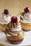Whipped cream cakes. Cakes on a plate with sweet cherries Royalty Free Stock Image