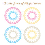 Whipped cream and circular frame. Vector set. Stock Images