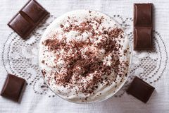 Whipped cream with dark chocolate. top view Stock Images