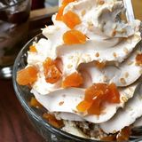 Whipped cream dessert. Sweet whipped cream dessert with apricot Stock Photography
