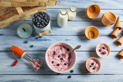 Whipped cream and fresh blueberries as ingredients for ice cream Royalty Free Stock Images