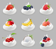 Whipped cream with fruits and berries, vector icon set Royalty Free Stock Photos