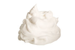 Whipped cream. Isolated on white background royalty free stock image