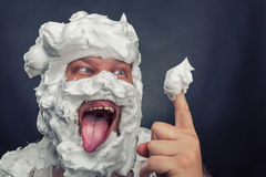 Whipped cream licker Stock Photos