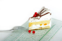 Whipped cream and ribes dessert cake slice Stock Images