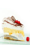 Whipped cream and ribes dessert cake slice Royalty Free Stock Photo