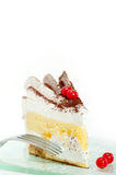 Whipped cream and ribes dessert cake slice Stock Photography